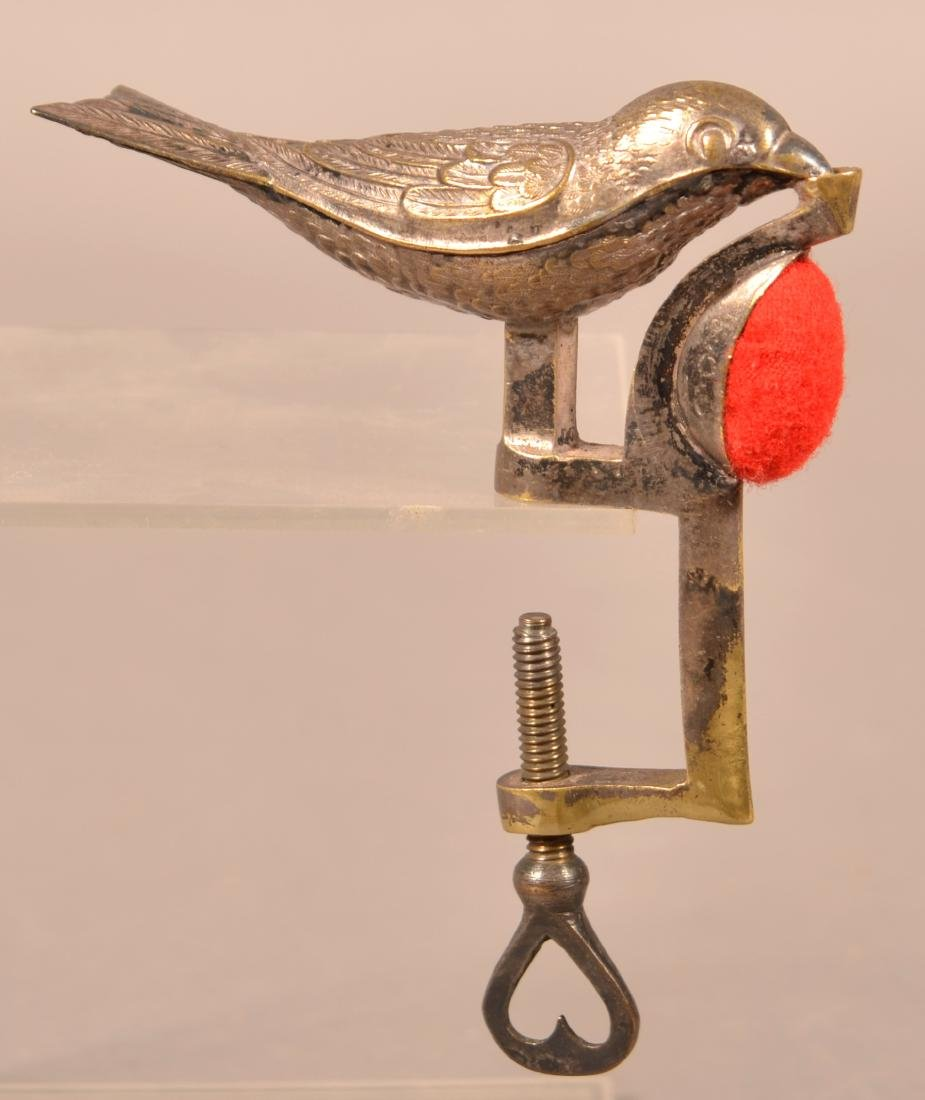 A. Jerould & Co. Cast Brass Finch Sewing Bird.