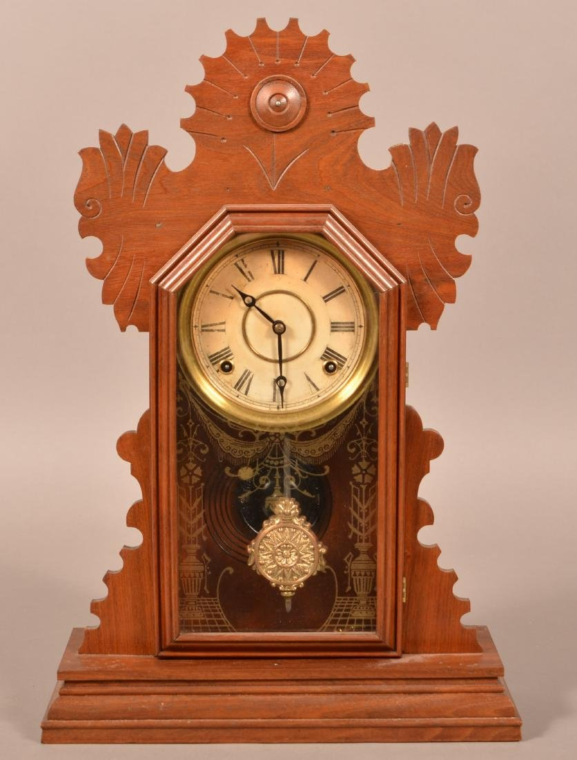 Ingraham Victorian Walnut Case Shelf Clock.