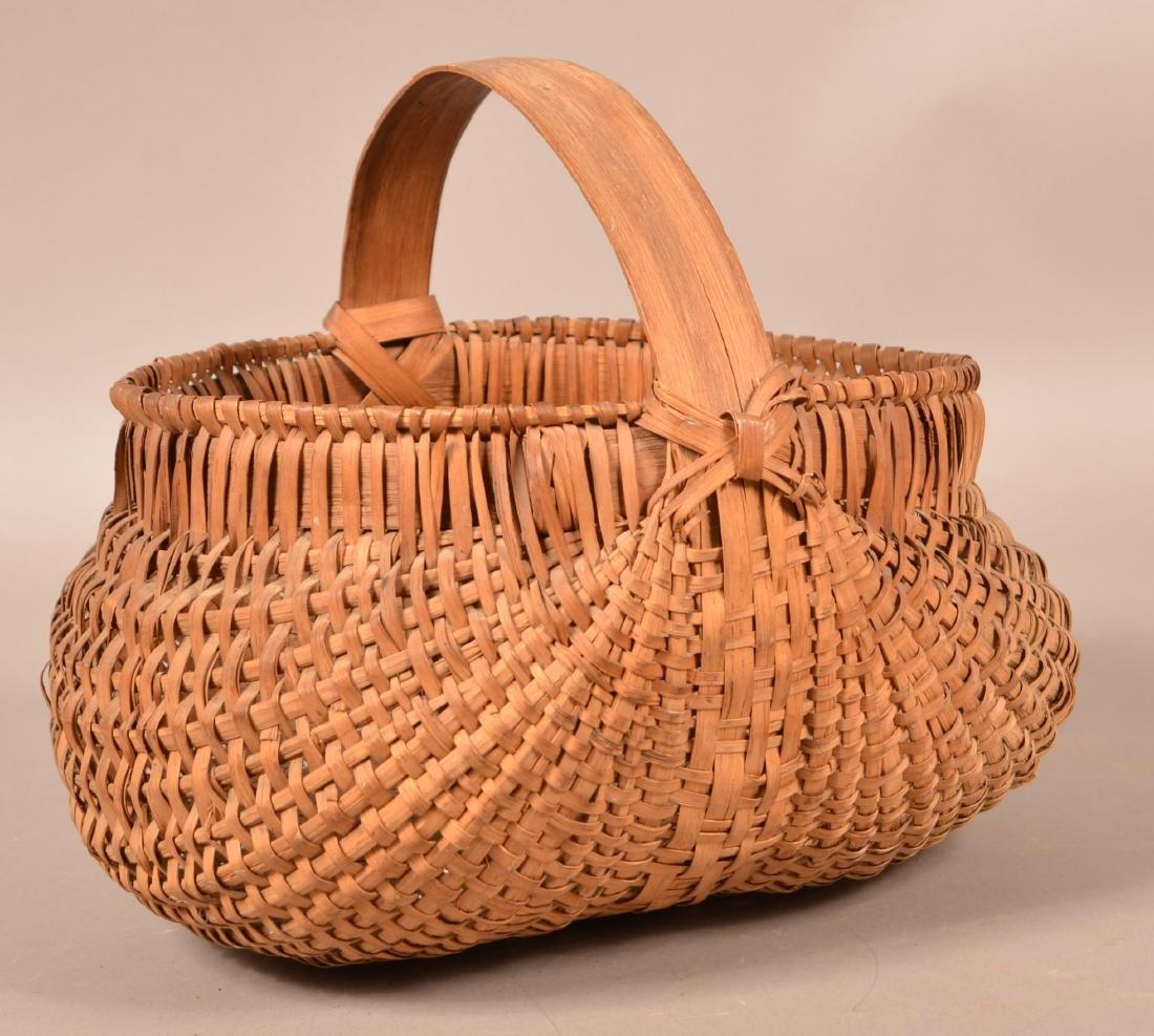 Woven Oak Splint Orsch Backe Market Basket. - 2