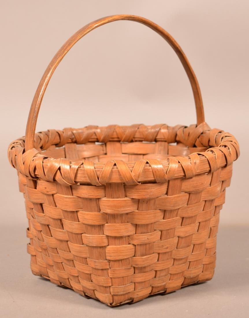 Antique Woven Oak Splint Basket.