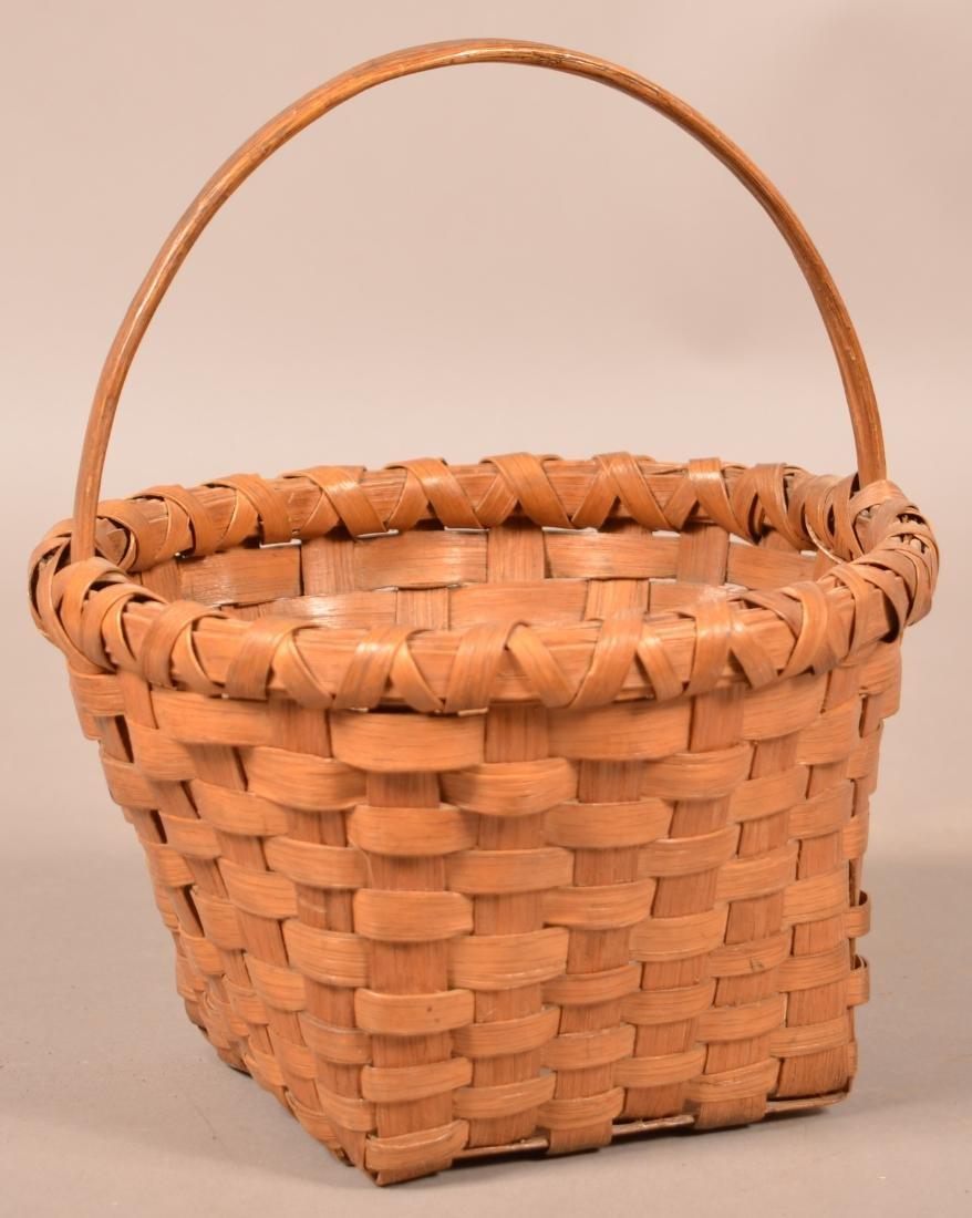 Antique Woven Oak Splint Basket. - 2