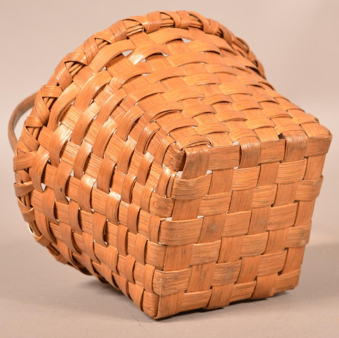 Antique Woven Oak Splint Basket. - 3