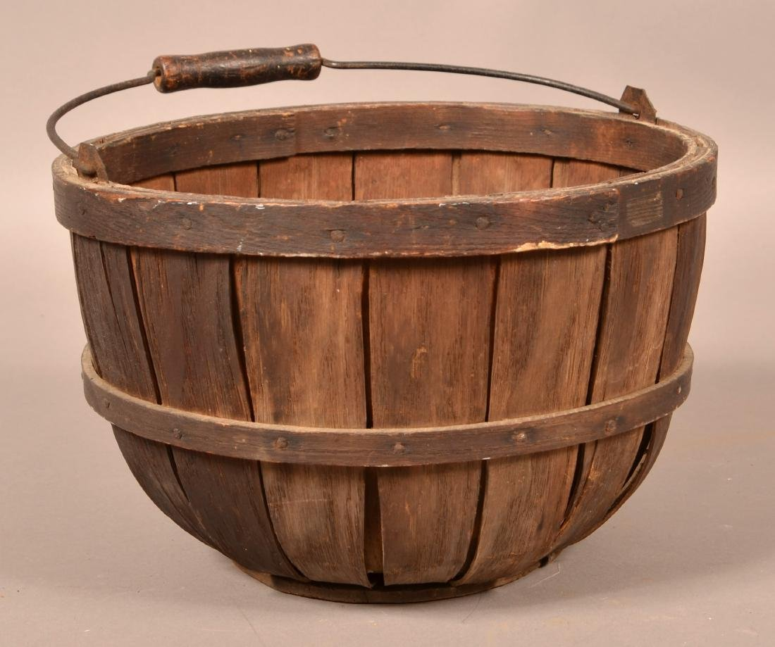 Vintage Oak Stave Field Basket.