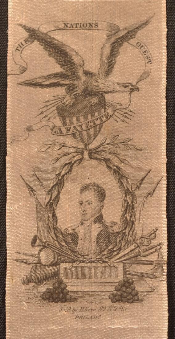 1 pc.Silk Ribbon Commemorating the Visit of Lafayette