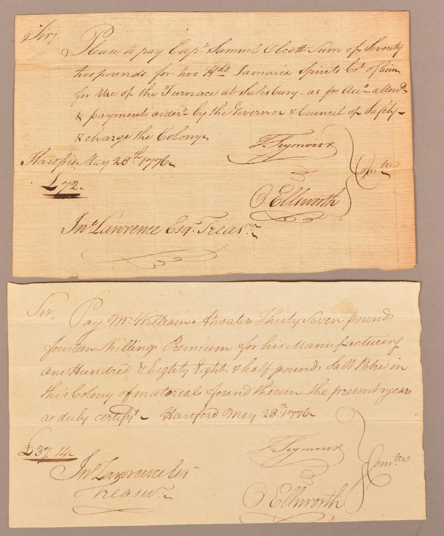 2 pcs Two May 1776 hand written documents