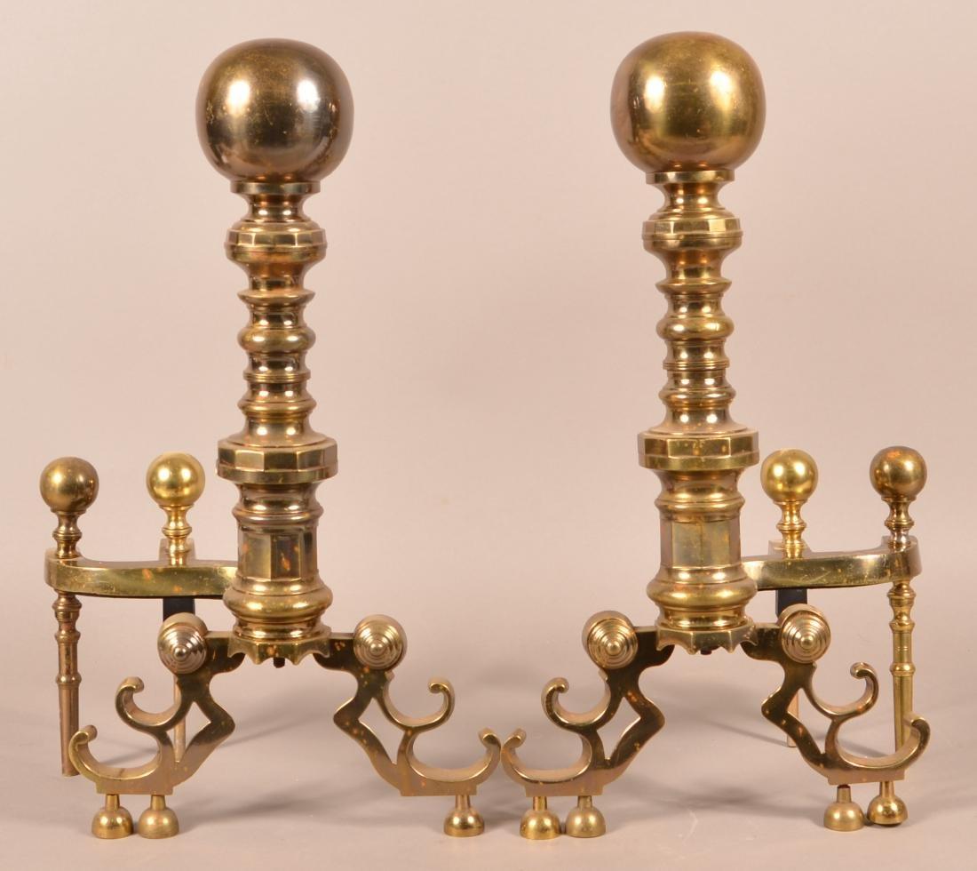 Pair of Decorative Brass Andirons.