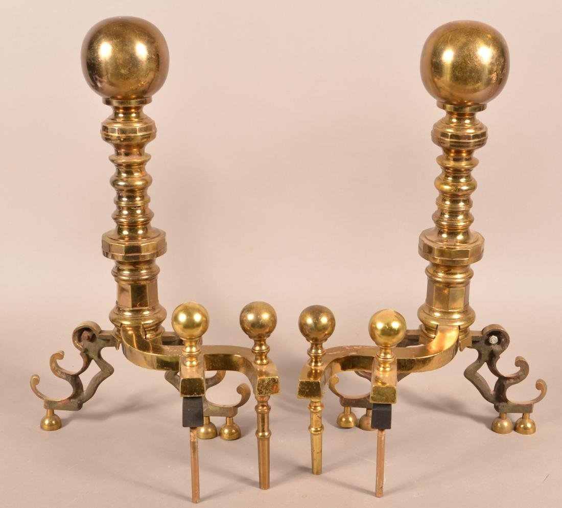 Pair of Decorative Brass Andirons. - 2