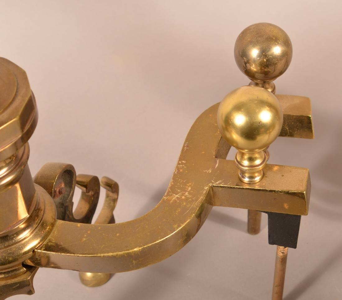 Pair of Decorative Brass Andirons. - 3