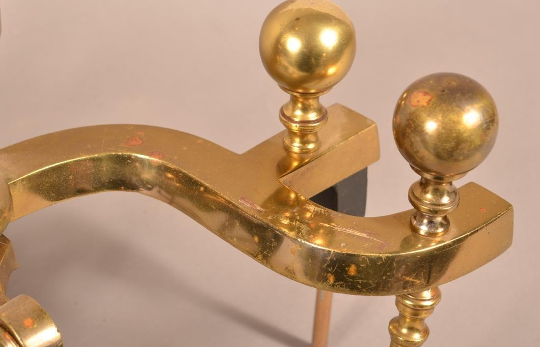Pair of Decorative Brass Andirons. - 4