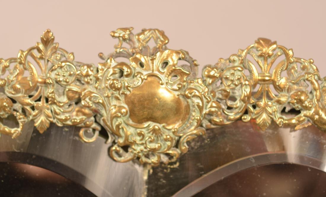 Antique Ornate Brass Heart Shaped Mirror. - 2