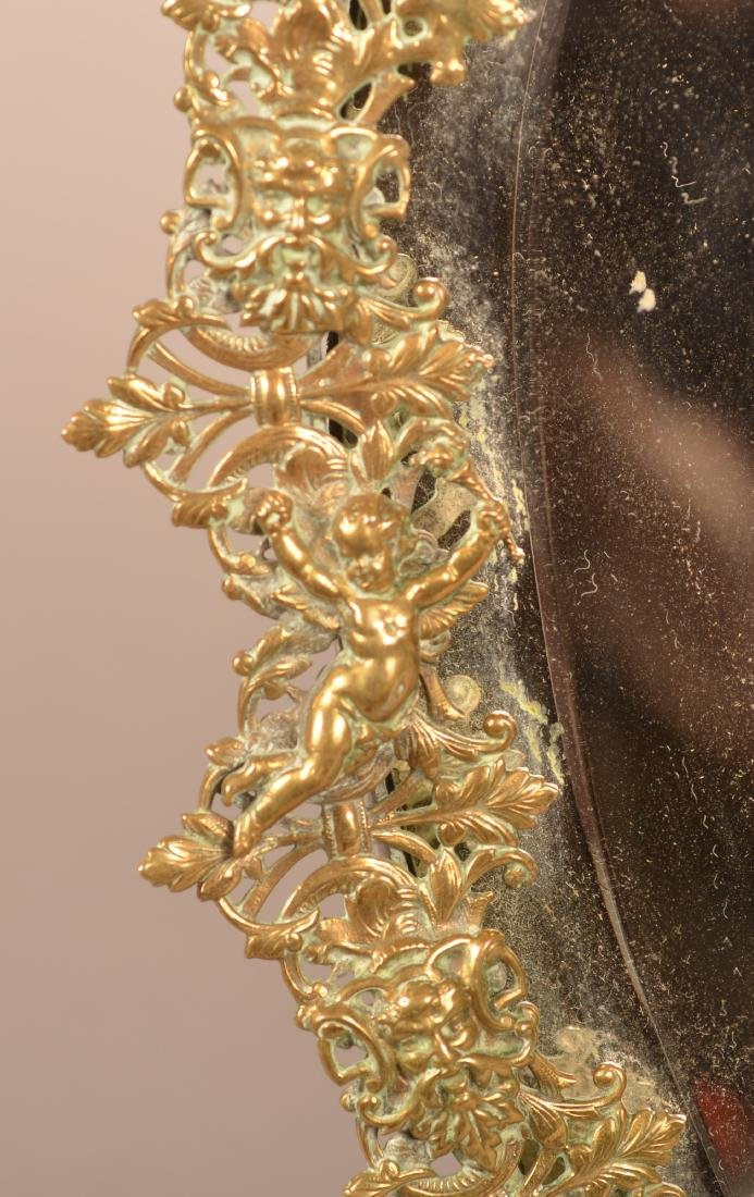 Antique Ornate Brass Heart Shaped Mirror. - 3
