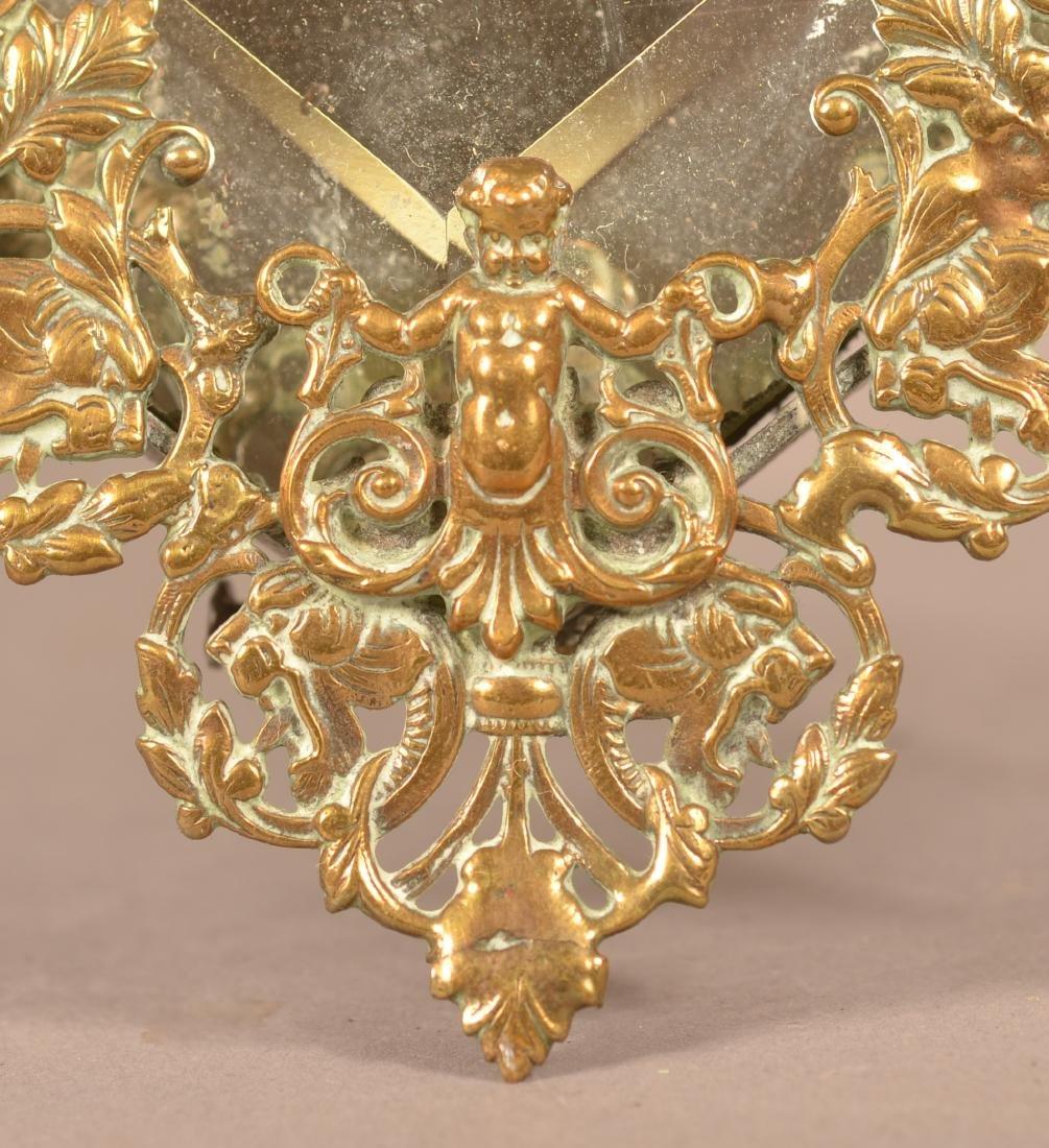 Antique Ornate Brass Heart Shaped Mirror. - 4
