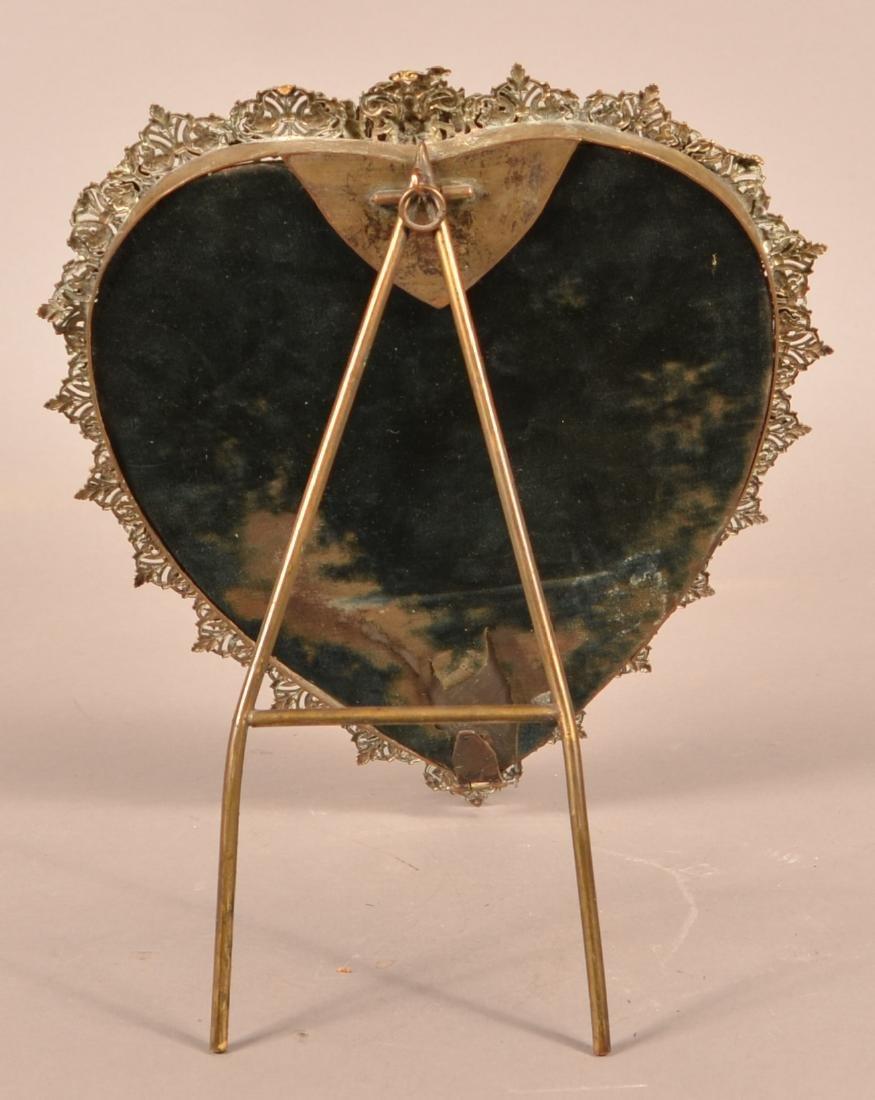 Antique Ornate Brass Heart Shaped Mirror. - 5