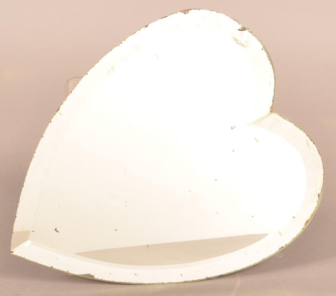 Antique Ornate Brass Heart Shaped Mirror. - 6