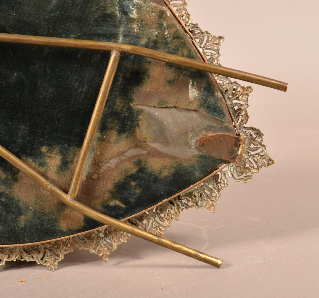Antique Ornate Brass Heart Shaped Mirror. - 7