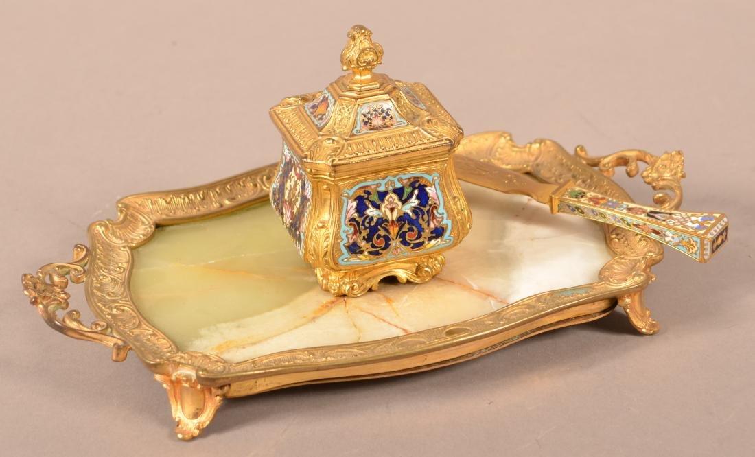 Brass and Cloisonné Desk Set.