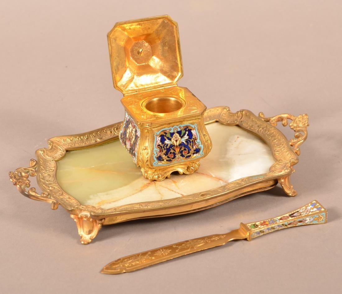 Brass and Cloisonné Desk Set. - 2