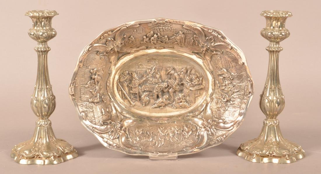 Continental Silver-plate Bowl and Candlesticks.