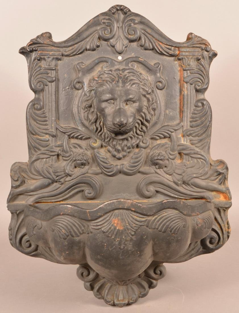 Modern Cast Iron Lion Head Wall Fountain.
