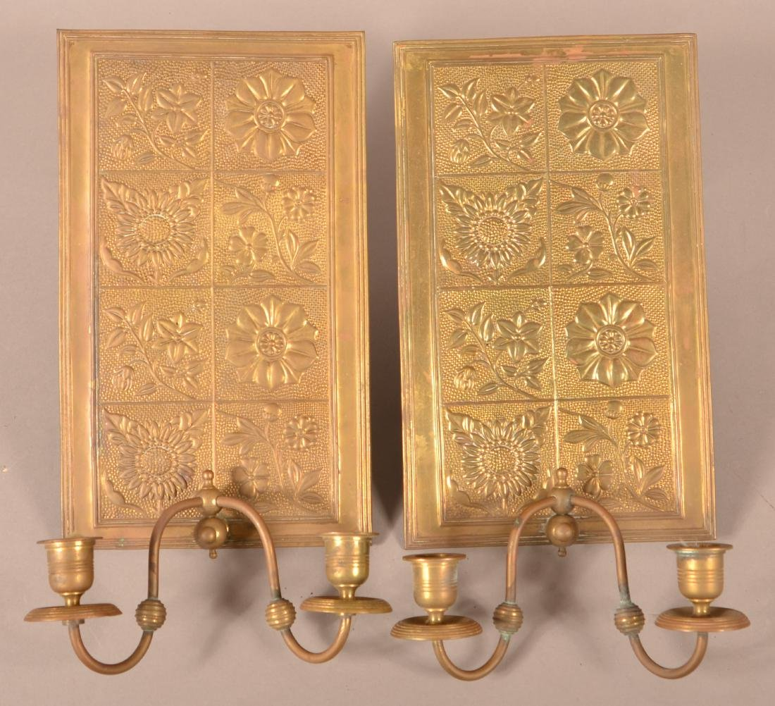 Pair of Victorian Brass Wall Sconces.