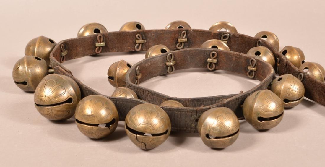 String of 23 Antique Brass Sleigh Bells. - 2