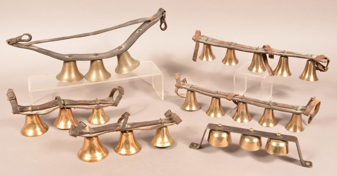 Six Sets of Antique Brass Hames Bells.