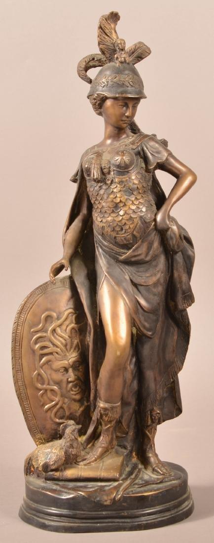 Antique Bronze Figural Sculpture of Athena.