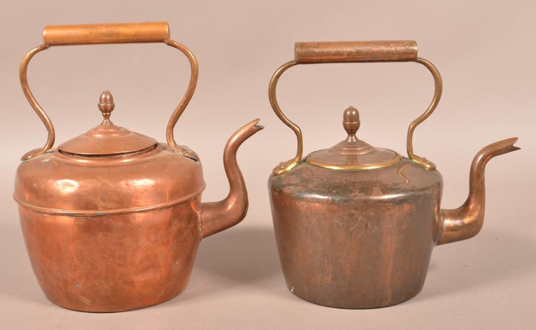 Two Antique English Copper Tea Kettles.