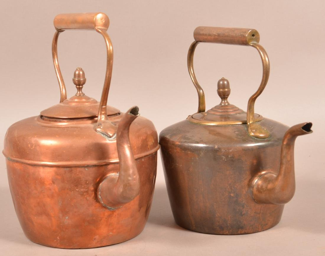 Two Antique English Copper Tea Kettles. - 2
