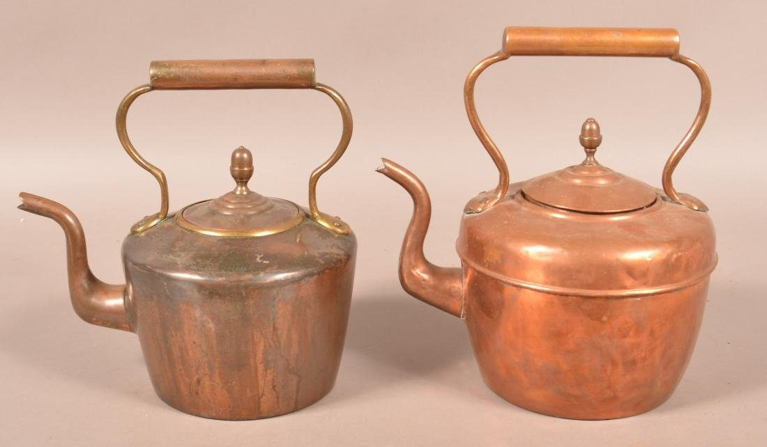 Two Antique English Copper Tea Kettles. - 3