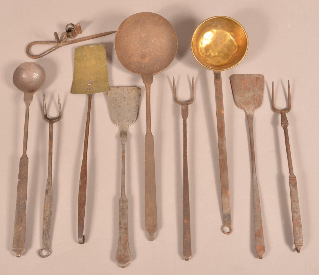 Nine Various Antique Wrought Iron Utensils.