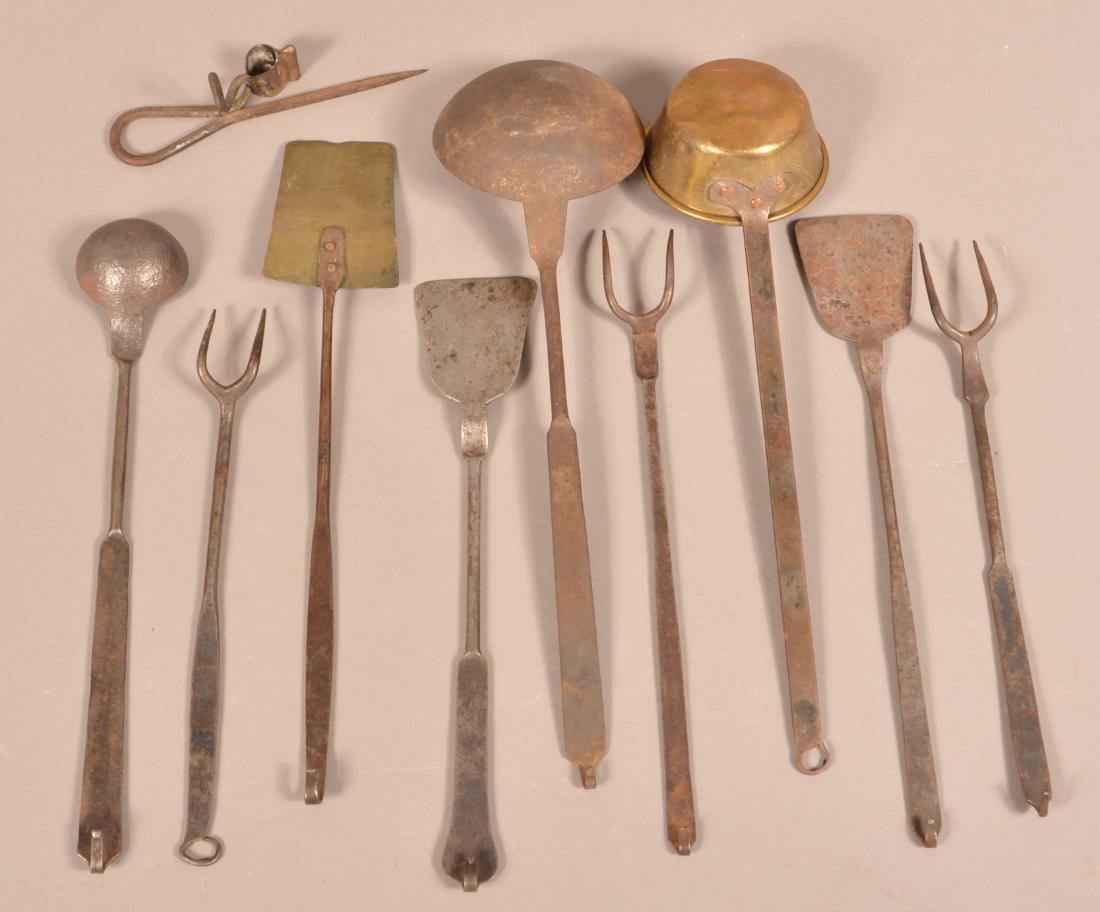 Nine Various Antique Wrought Iron Utensils. - 2