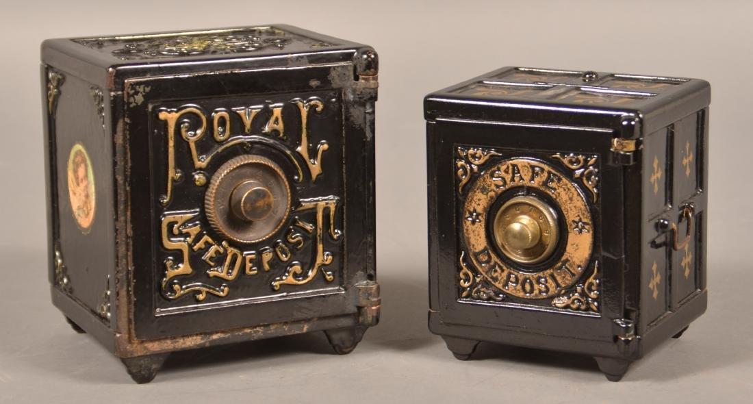 Two Antique Cast Iron Safe Still Banks.