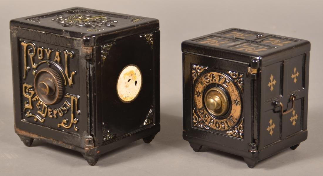 Two Antique Cast Iron Safe Still Banks. - 2