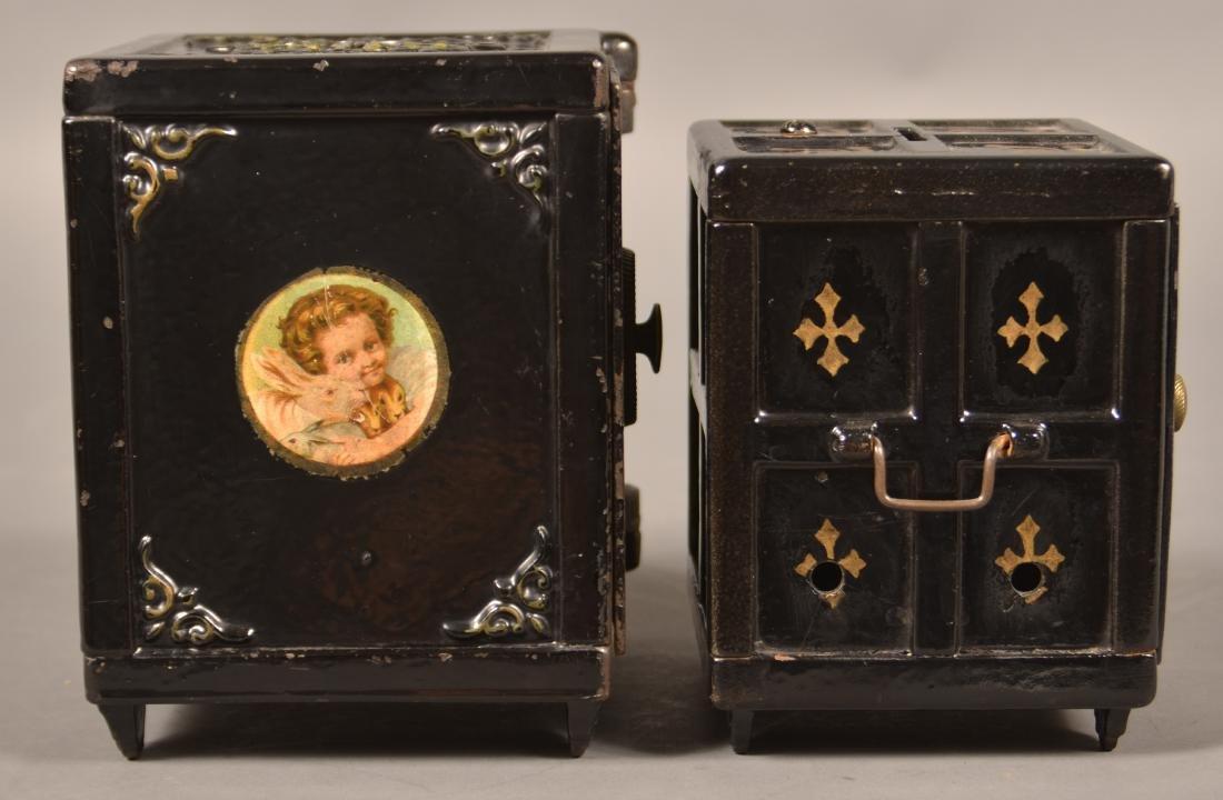 Two Antique Cast Iron Safe Still Banks. - 4