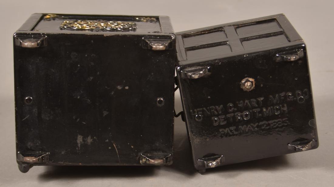 Two Antique Cast Iron Safe Still Banks. - 5