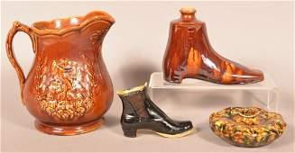 Four Pieces of Glazed Pottery.