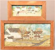 Two Delores Hackenberger Amish Farm Paintings.