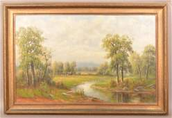 Louis J Cruise Oil on Canvas Landscape Painting