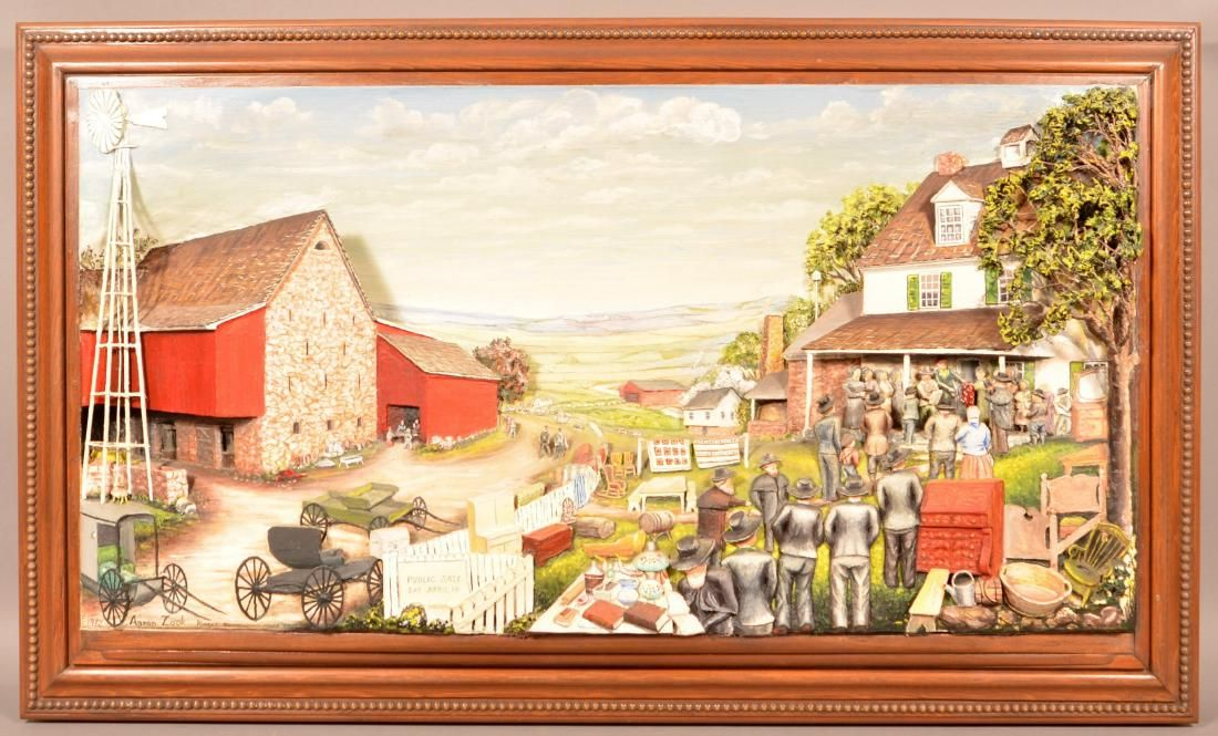 Aaron Zook Diorama Depicting a Amish Country Auction.