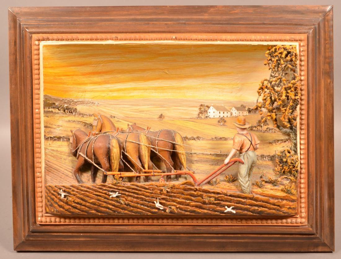 Aaron Zook Diorama Depicting an Amish Plowing Scene.