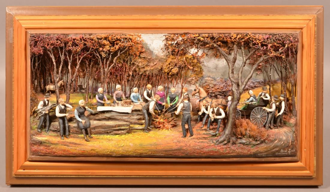 Abner Zook Diorama Depicting an Amish Picnic Scene.