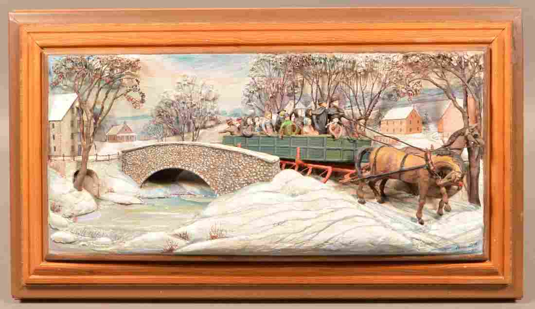 Abner Zook Diorama Depicting an Amish Sleigh Scene.