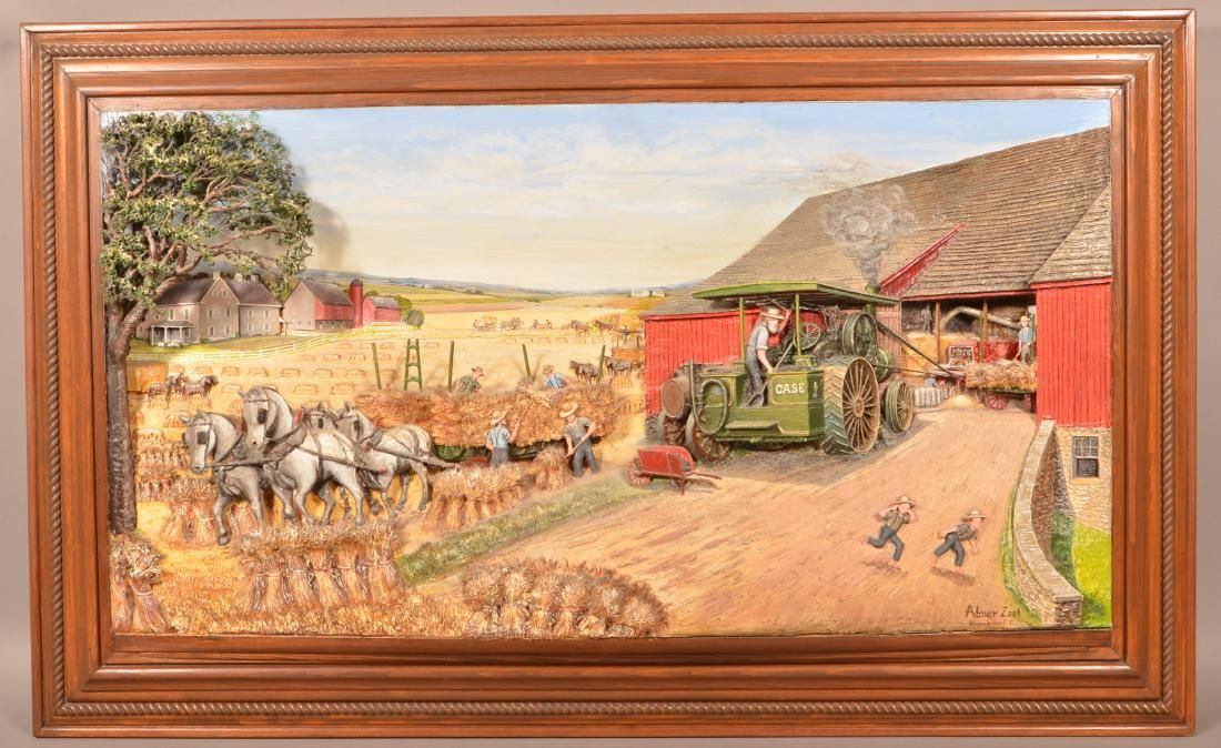 Abner Zook Diorama Depicting an Amish Harvest Scene.