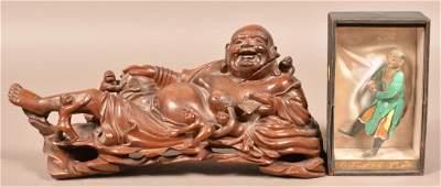 Antique Carved Wood Buda Figure