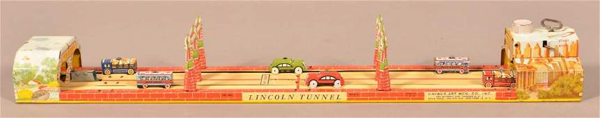 Unique Art Lincoln Tunnel Tin Lithograph Windup Toy
