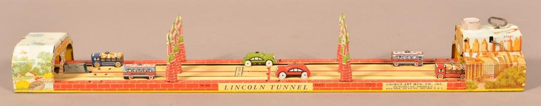 "Unique Art ""Lincoln Tunnel"" Tin Lithograph Wind-up Toy."