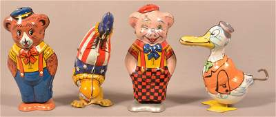 Four J Chein  Co Tin Lithograph Windup Toys