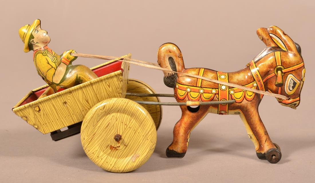 Marx Mule and Cart Tin Lithograph Wind-up Toy.