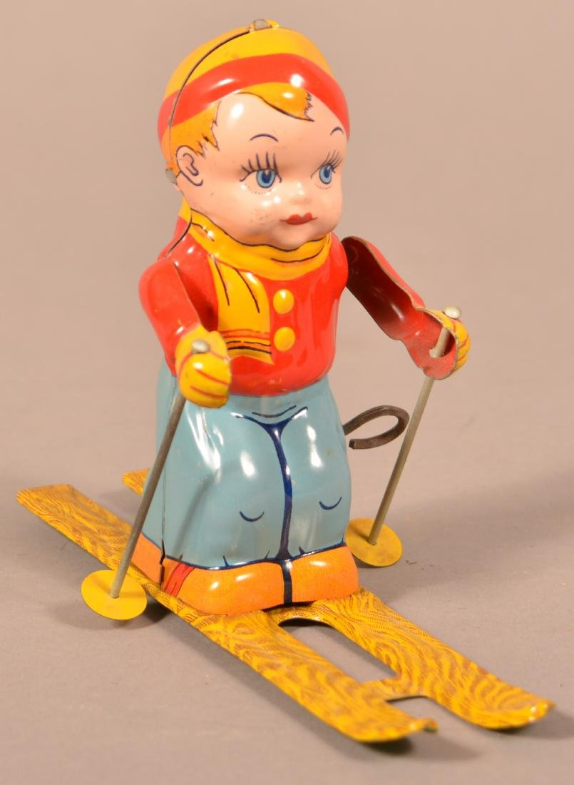 J. Chein & Co. Skier Boy Tin Lithograph Wind-up Toy.